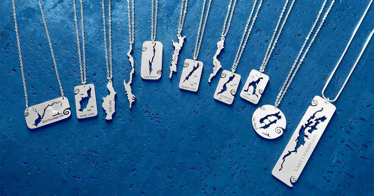 necklaces with the shapes of different lakes