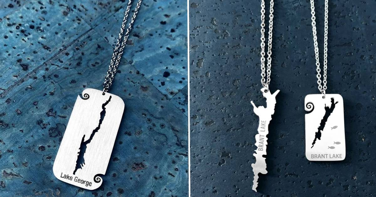 split image with Lake George necklace on the left and two Brant Lake necklaces on the right