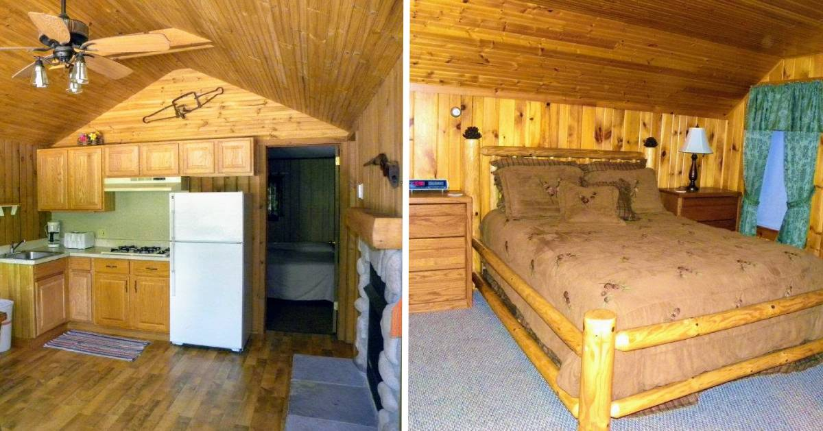 split image with kitchen and bedroom in cabin