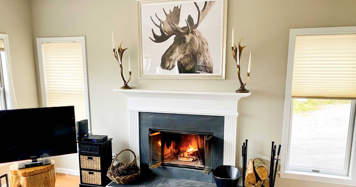 moose portrait over fireplace