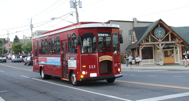large photo of the red lake george trolley