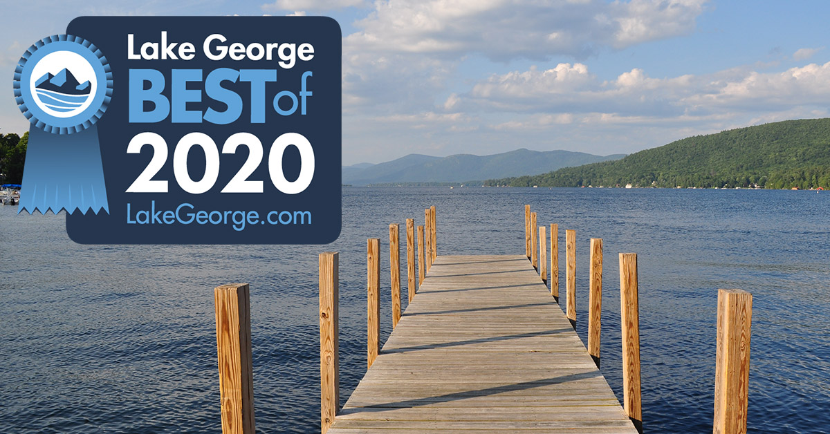 dock on lake george with best of badge
