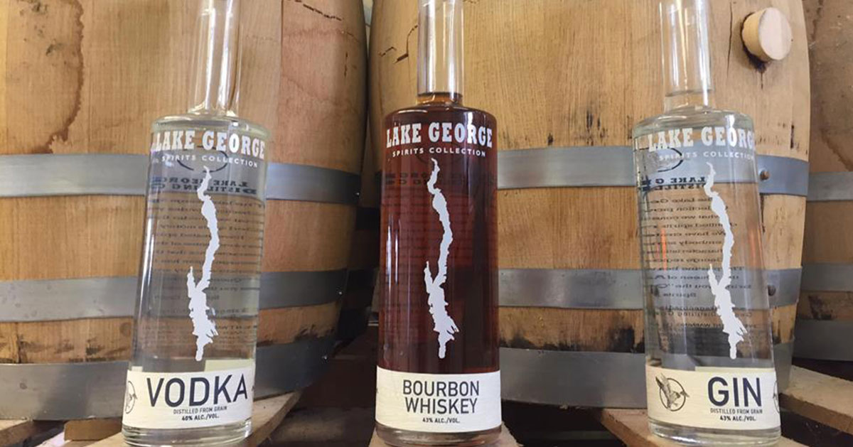 lake george themed liquor bottles and barrels