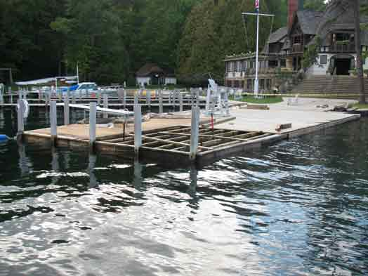 damaged docks on lake george