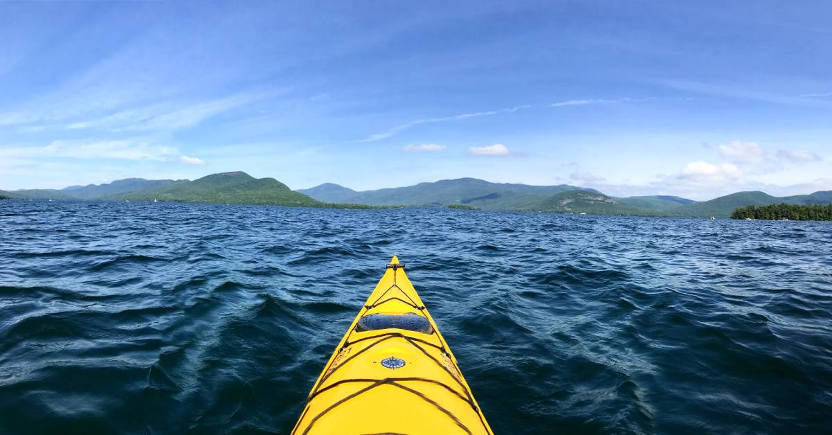view of lake george from a kayak