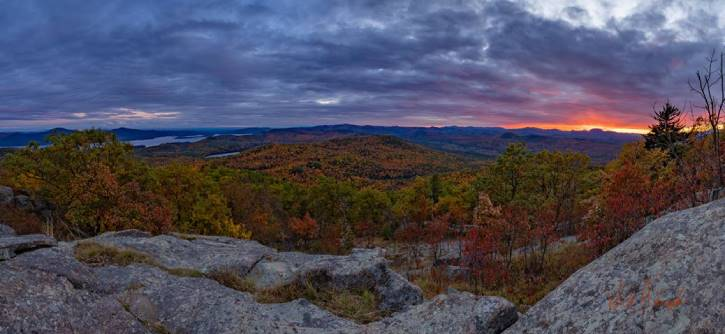 Sunset from a mountaintop in the fall