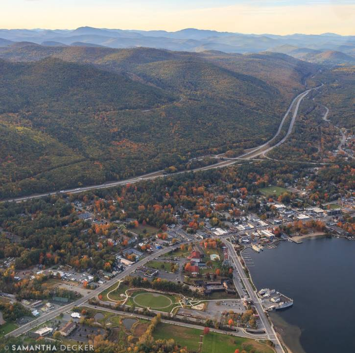 Aerial view of Lake George Village in the fall