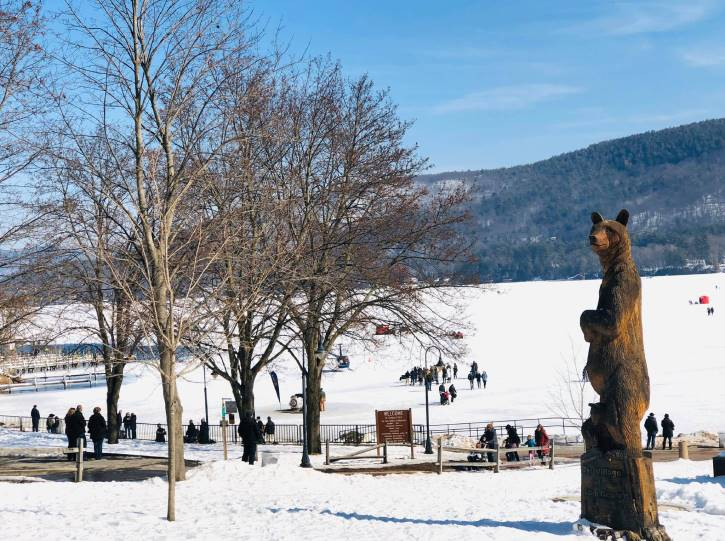 Bear statue with snow & frozen lake in background
