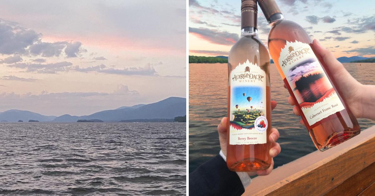 left photo of lake during sunset, right photo of person holding two bottles of wine
