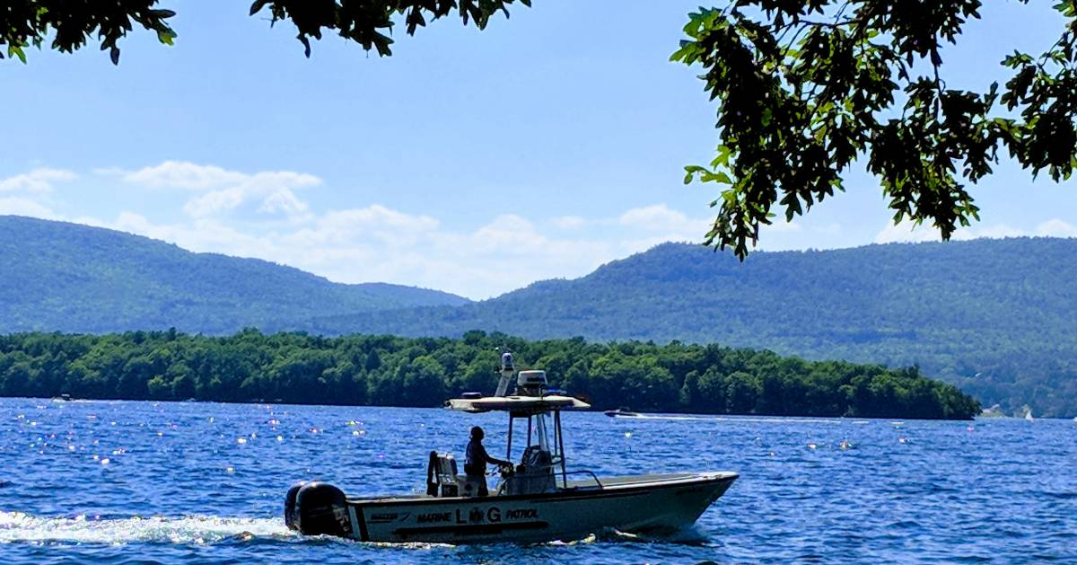 patrol boat on Lake George