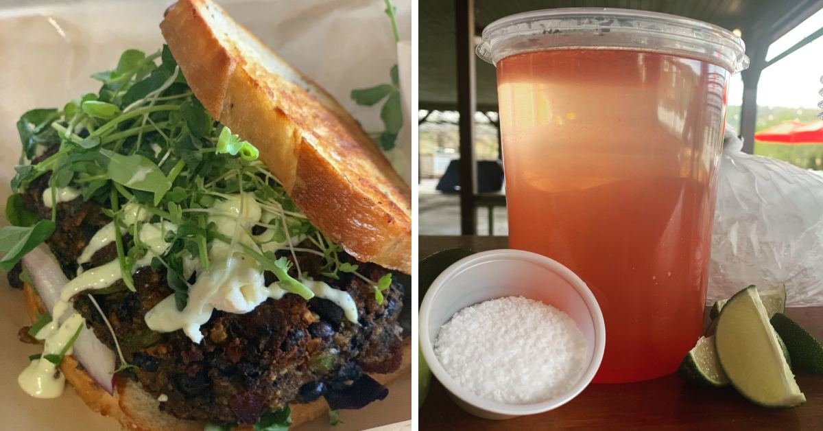 left photo of a sandwich, and a right photo of a mixed drink