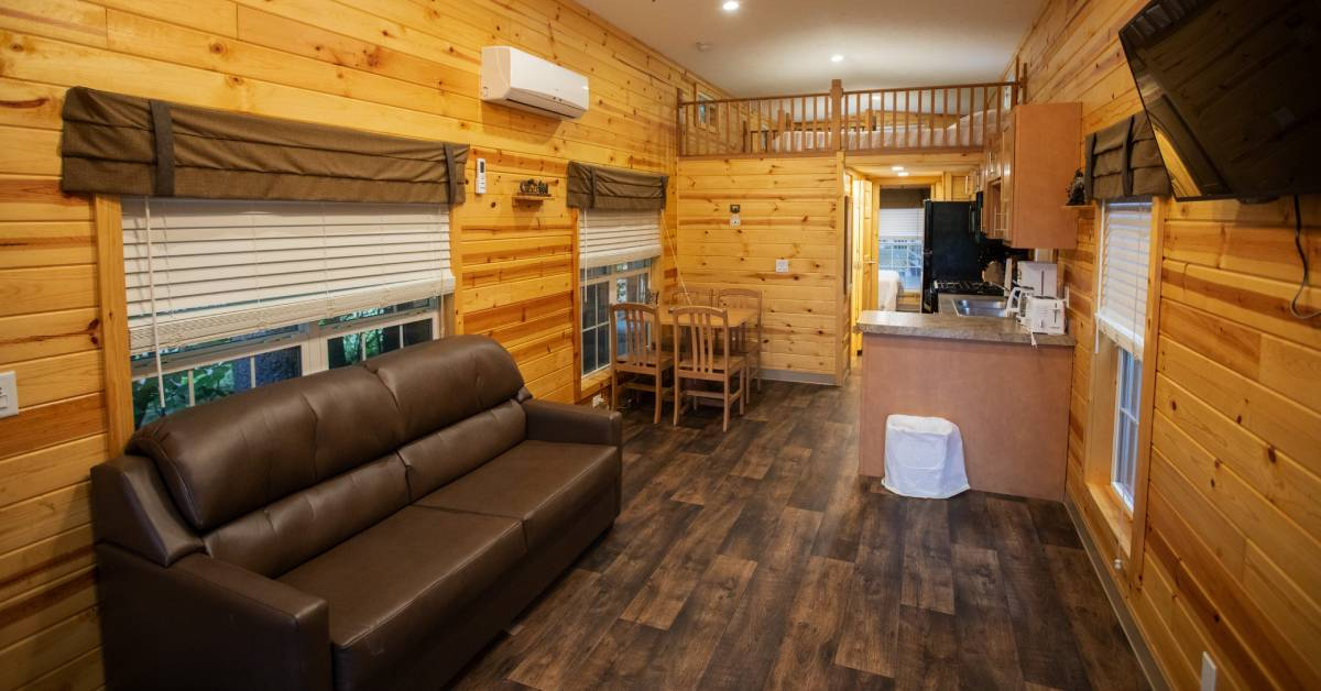 living room area in a cabin