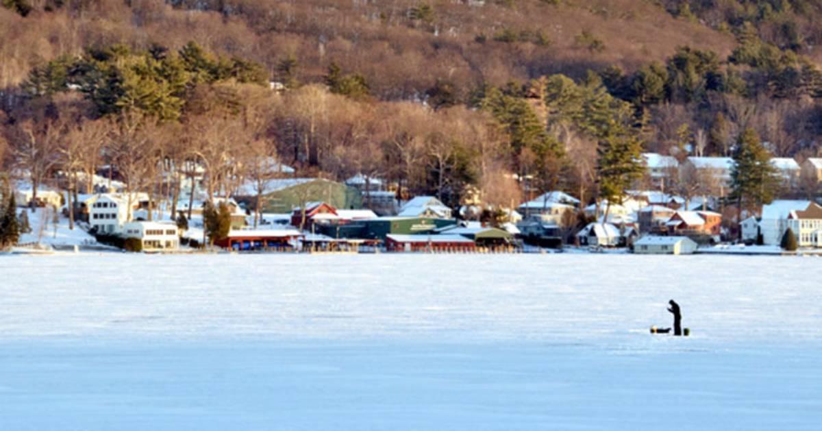 an ice fisherman on the lake