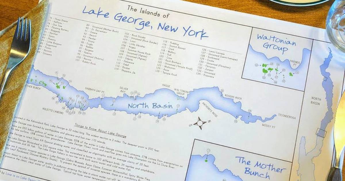Lake George islands map on placemat