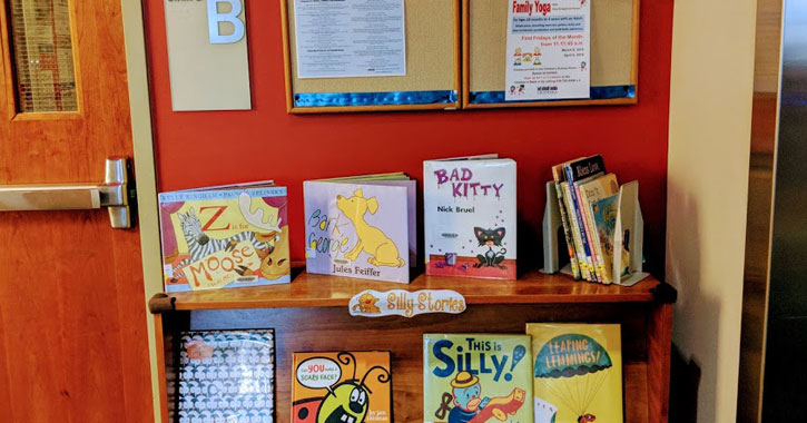 kids books on display at a library