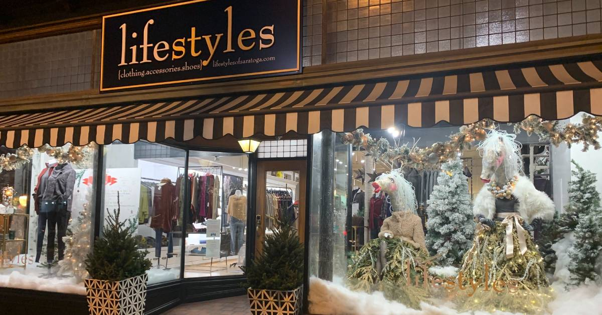 Lifestyles of Saratoga storefront in the winter