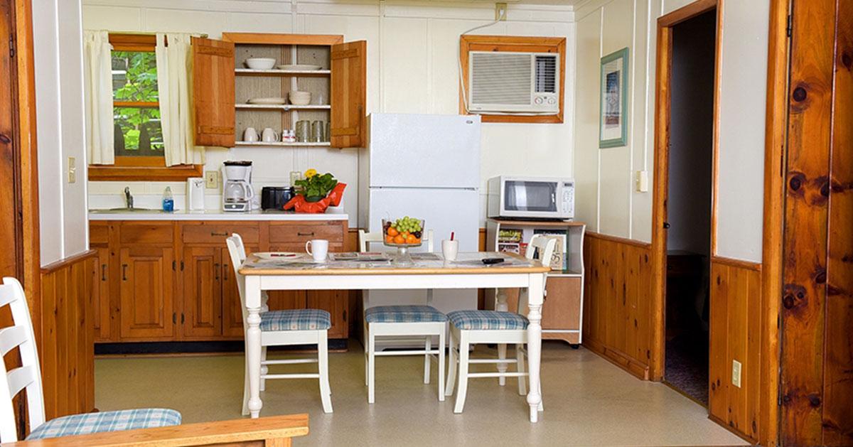 kitchen area inside a cabin