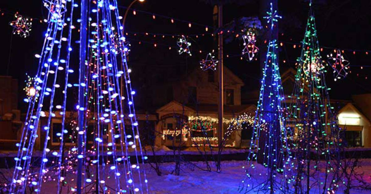 Christmas trees made of lights and other light displays at Lite up The Village in Lake George