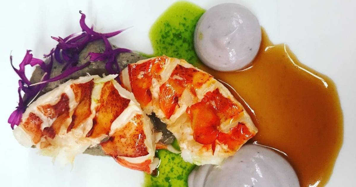 artfully plated lobster tails