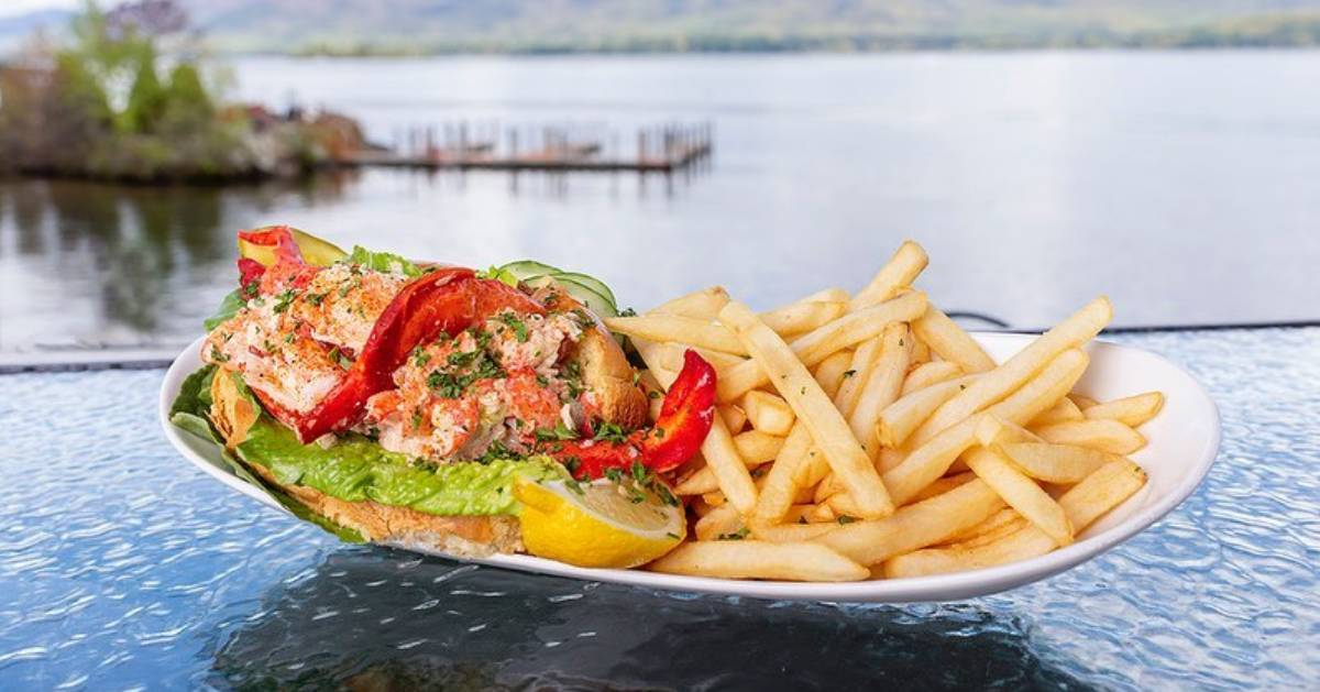 lobster roll by water