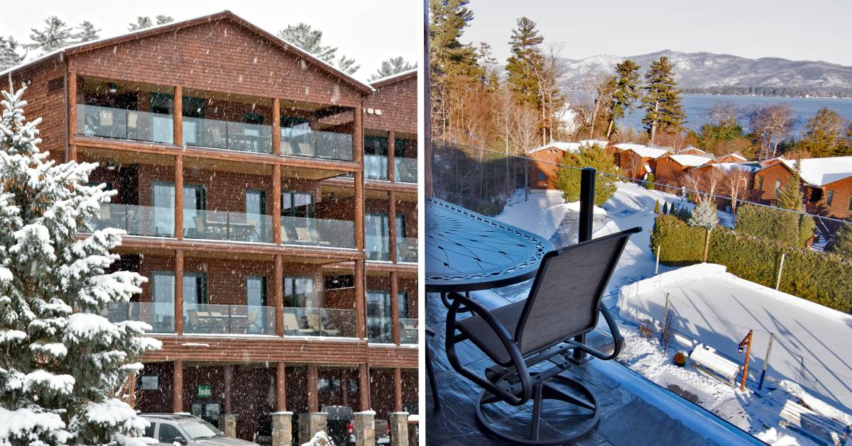 split image with lodge outdoors in winter and view from balcony