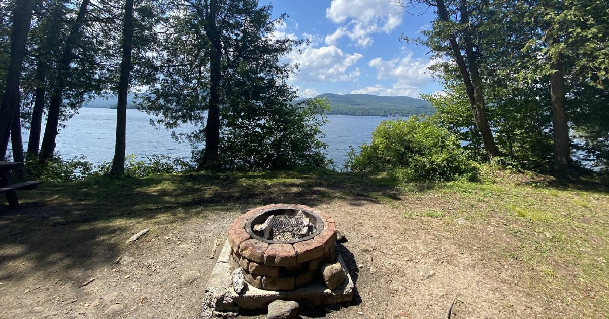 campsite with firepit