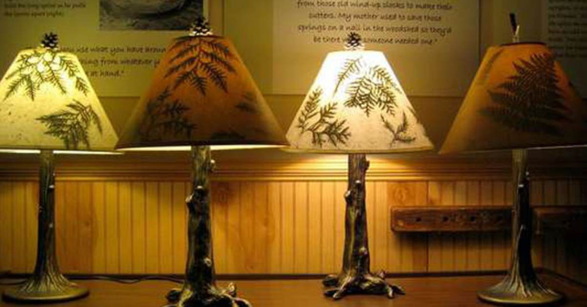 a row of adirondack themed lamps