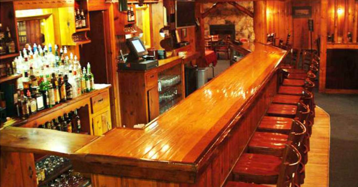 view of a wooden bar area