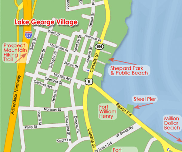Map Of Lake George Village