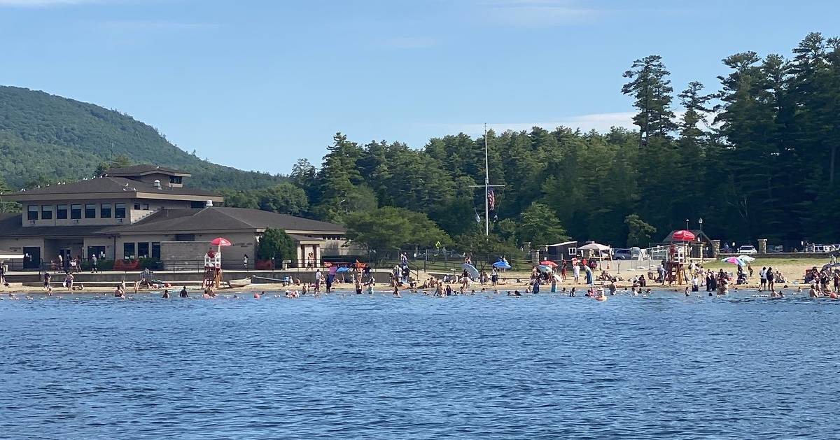 view of beach from the water