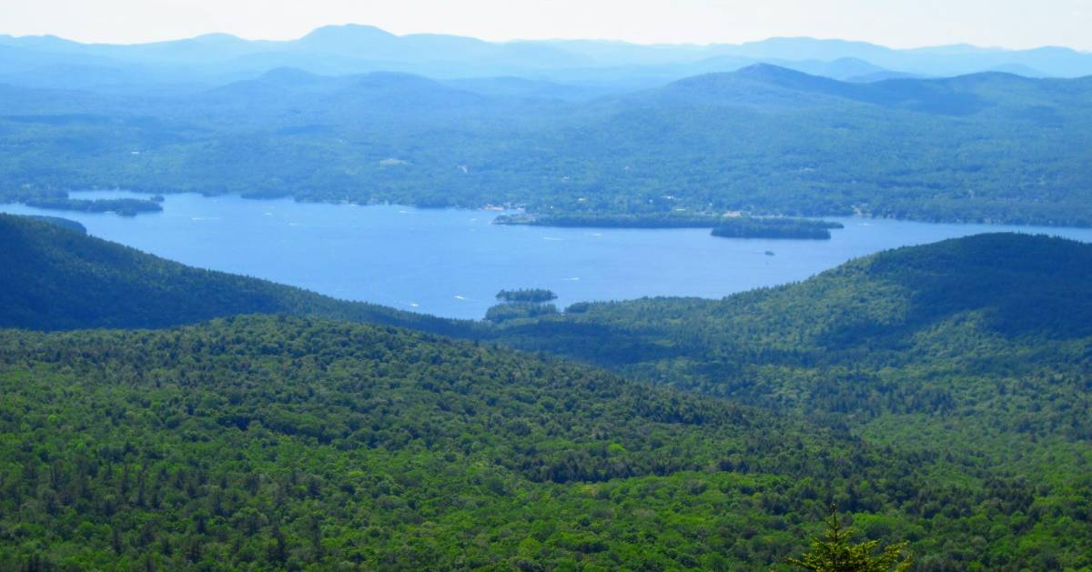 view of lake from mountain summit