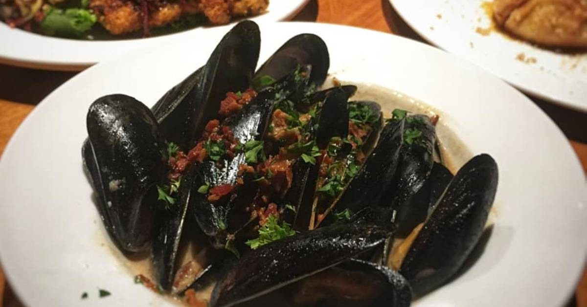 mussels dinner on a white plate