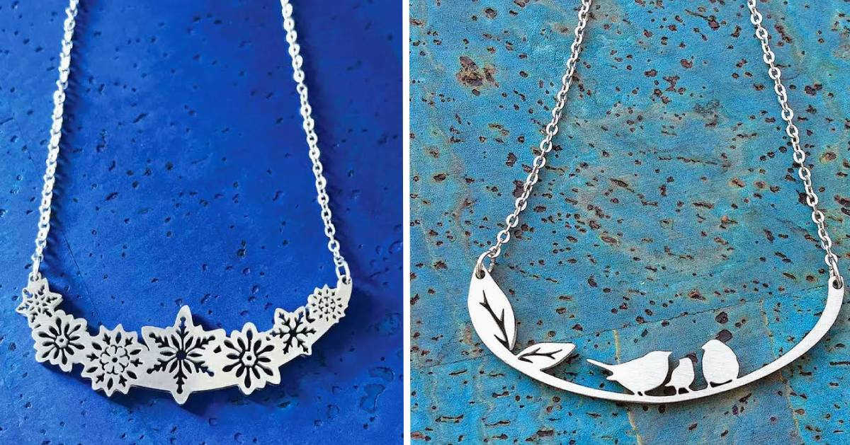 split image with necklace on each side