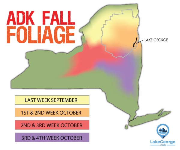fall foliage map for adirondacks and lake george