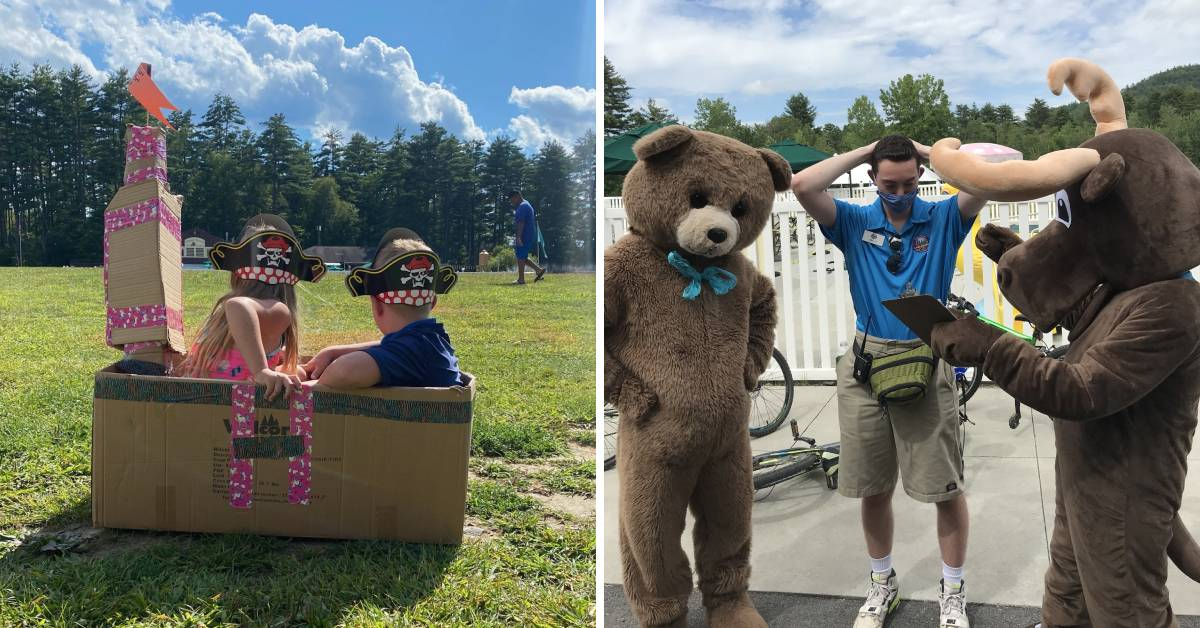 left photo of kids with pirate hats in a cardboard box, and a right photo of a campground worker and two people in animal costumes
