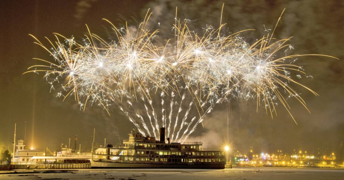 fireworks display from ship