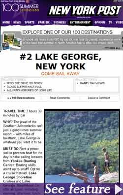 Lake George Ranks 2nd On New York Post's 100 Destinations