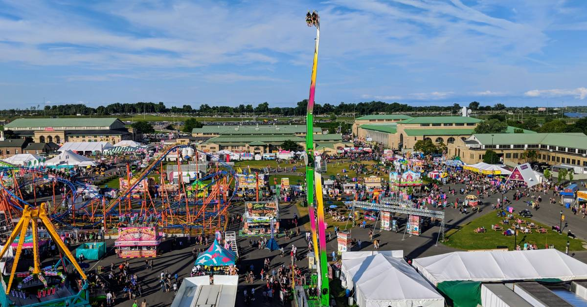 aerial view of rides at fair