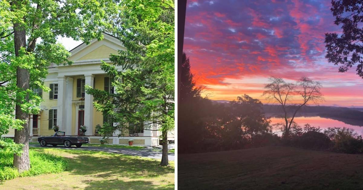 split image of bed and breakfast and sunrise