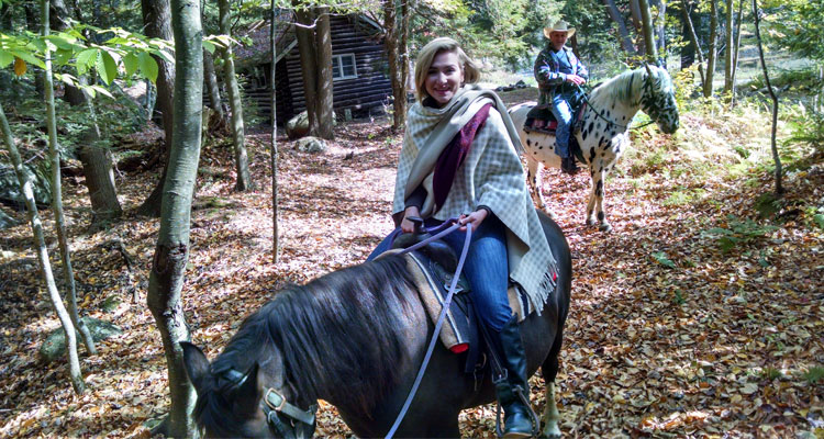 horseback ride in woods