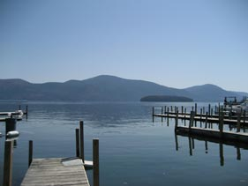 docks on Lake George