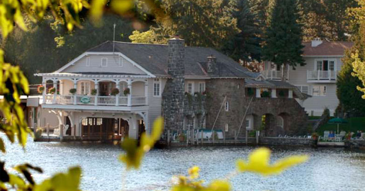view of bed and breakfast from across the lake