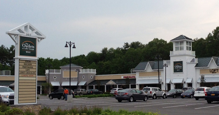 exterior of the outlets at lake george