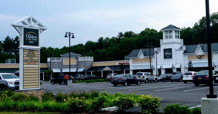 view of Lake George Outlets from the street