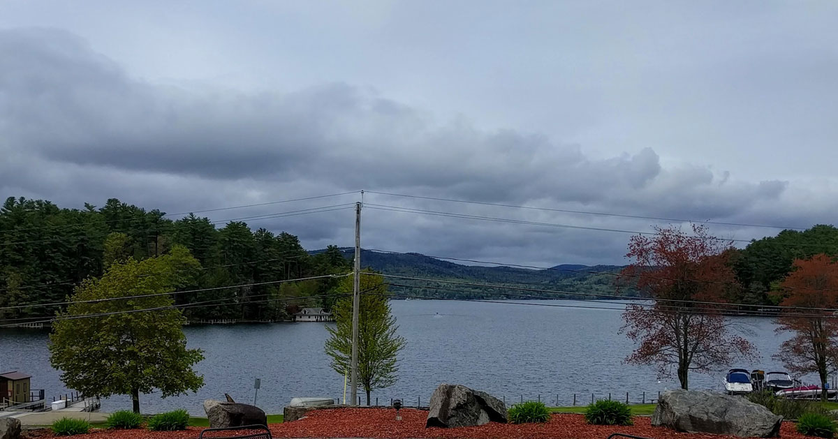 an overcast day on the lake