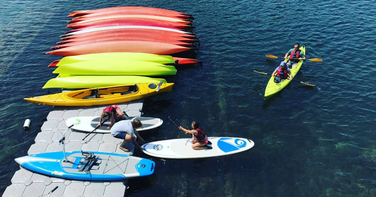 scene in water with people kayaking and paddleboarding