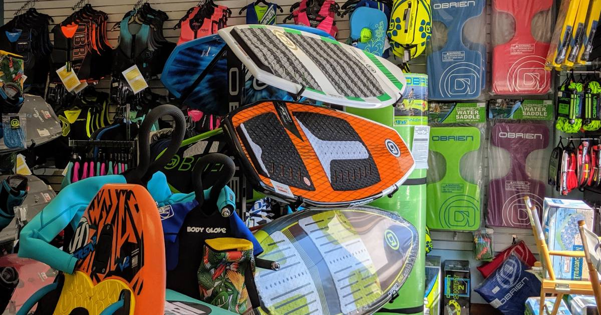 paddleboards in a shop