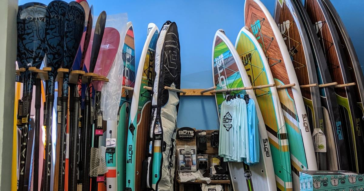 paddleboards display in shop