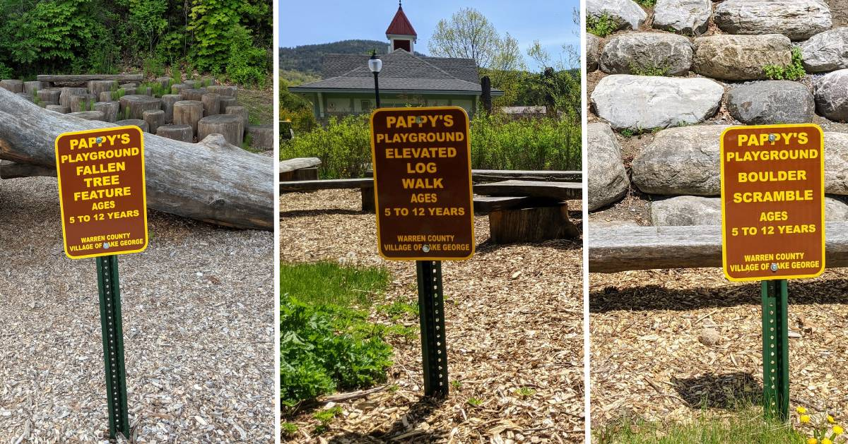 image split in three of Pappy's Playground play area signs