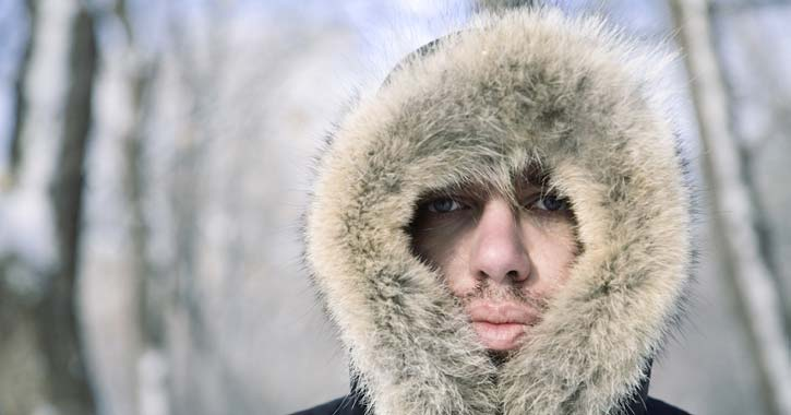 man wearing warm winter parka